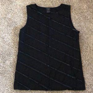 Ann Taylor Black Sequin Tank Size L